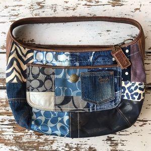 Vintage Coach Indigo Denim Patchwork Hobo Handbag